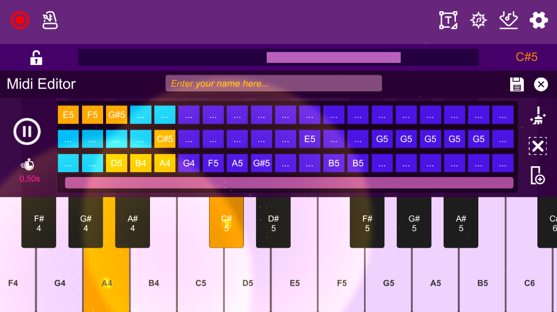 Screenshot 1: Midi Piano Editor